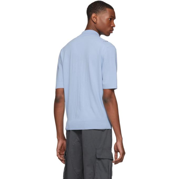 40770353 Kenzo Openwork Knit Polo - Blue In 64 Sky Blu | ModeSens