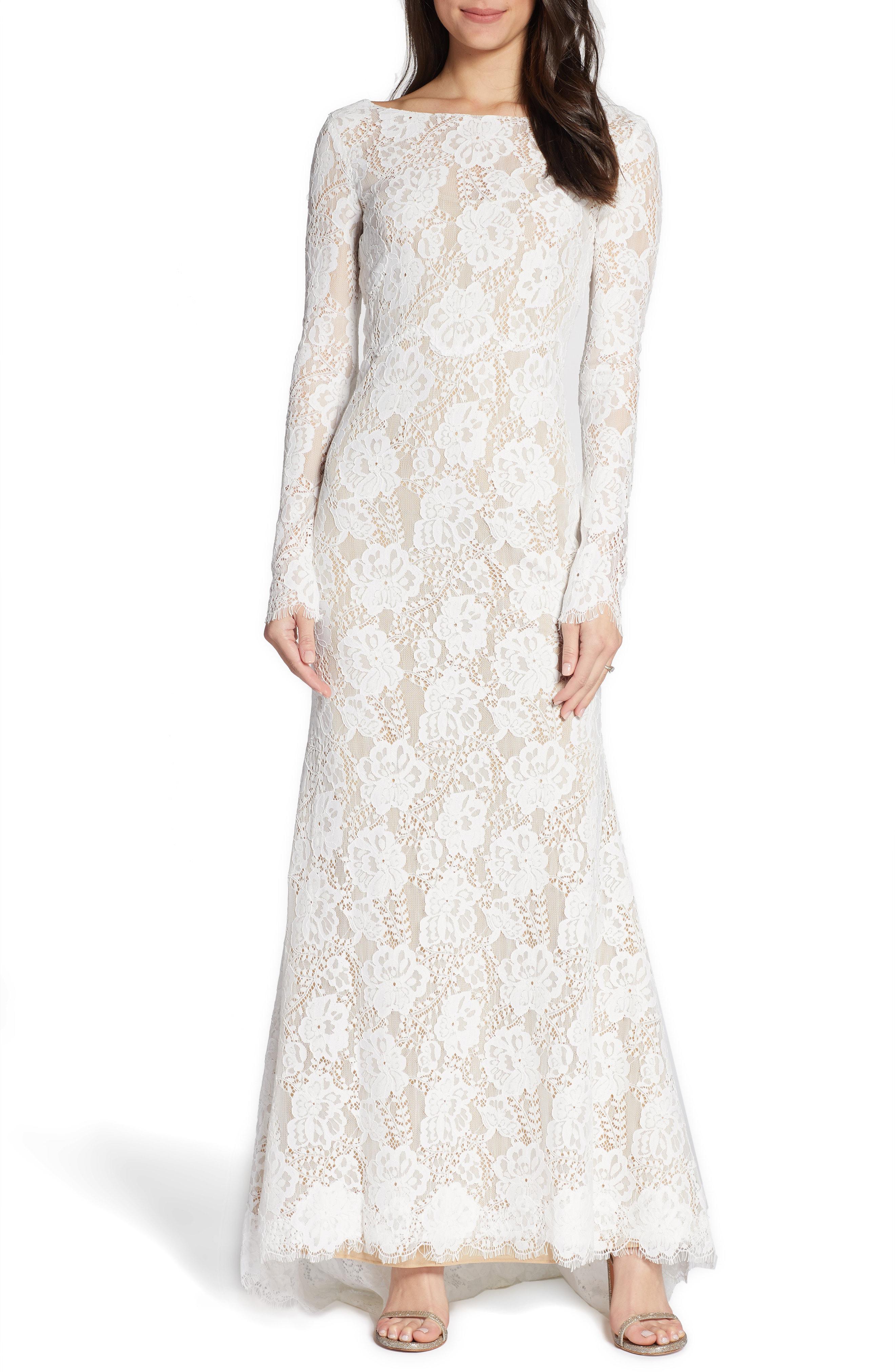 Watters Eyelash Lace Long Sleeve Wedding Dress In Ivory Modesens,October Wedding Guest Autumn Dresses 2020