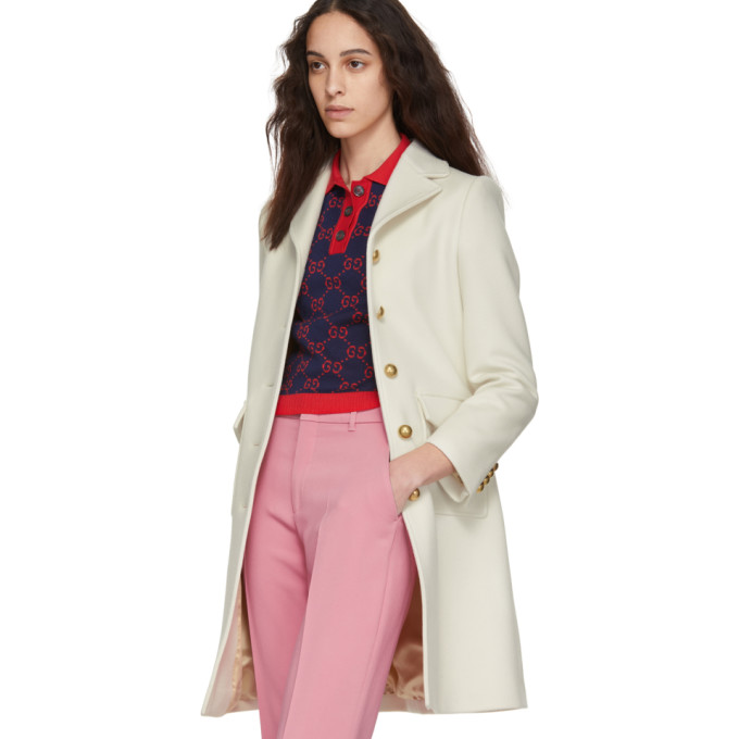 5a39dad915e Gucci Wool Coat With Double G In White