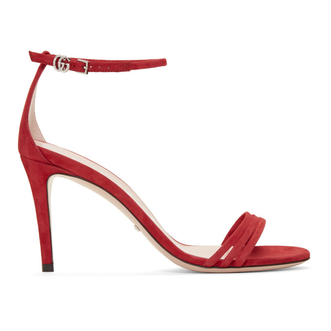 00131308e Gucci Red Suede Isle Heeled Sandals In 6433 Red | ModeSens