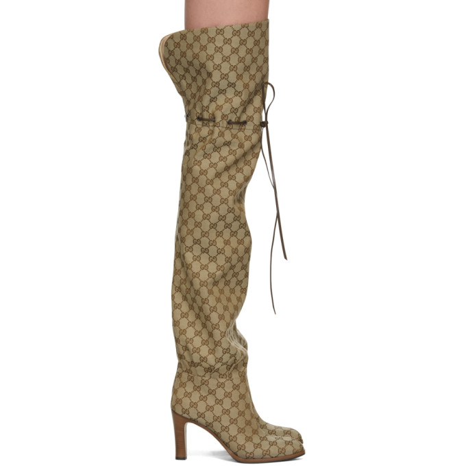 77babd598 Gucci Original Gg Canvas Over-The-Knee Boots In 9770 Beige | ModeSens