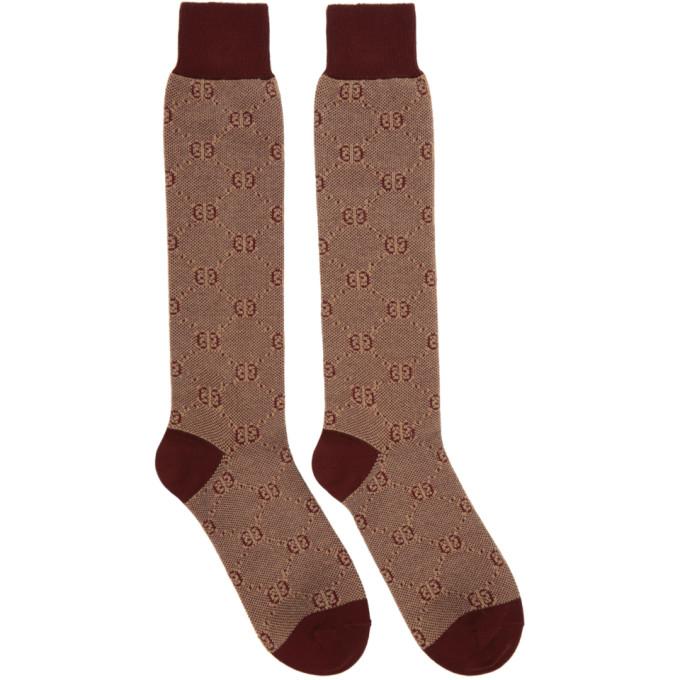 Gucci Men's Tonal Gg Cotton/Wool Socks In 6279 Red