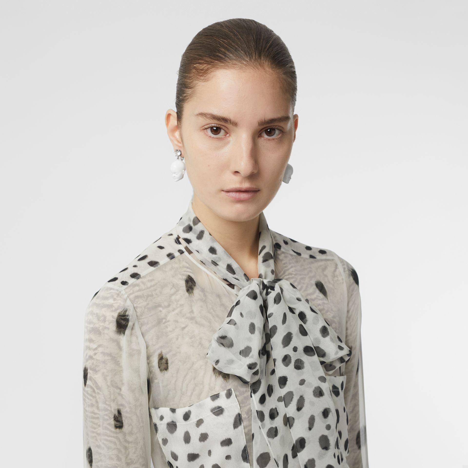 Burberry Animal-Print Tie-Neck Long-Sleeve Silk Blouse In Black