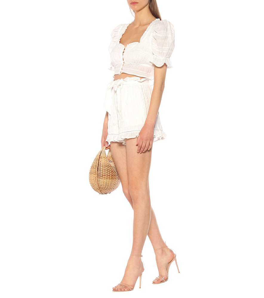 7e6d9dd0 Jonathan Simkhai Lace Combo Puff-Sleeve Button-Down Top In White ...