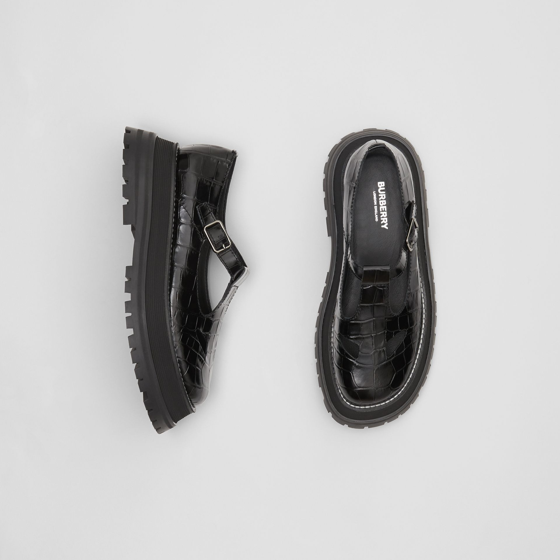 0806c10e3 Burberry Aldwych Stamped Leather Platform Flats In Black | ModeSens