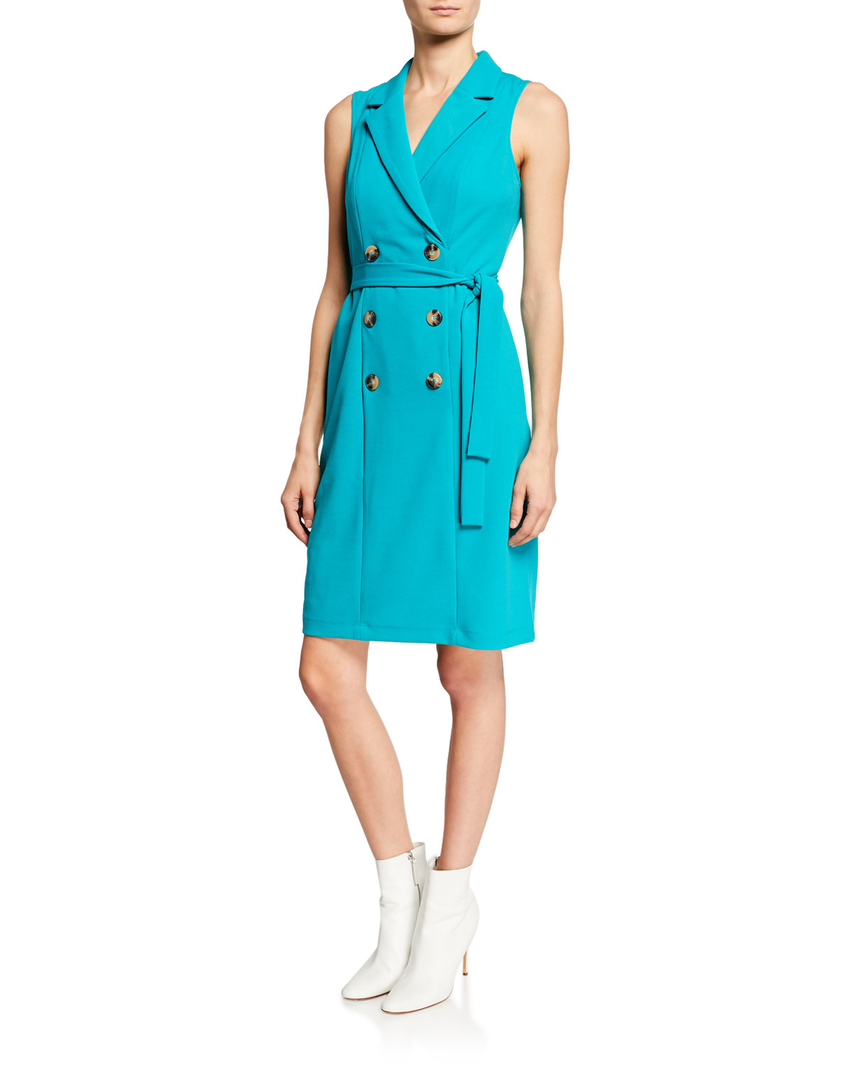 e50cd862aa0f8 Donna Morgan Double-Breasted V-Neck Coat Dress In Teal | ModeSens
