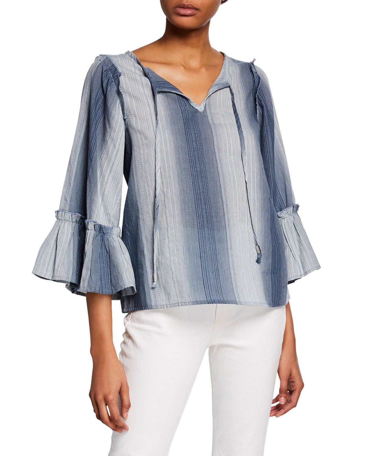 a0c047b7a84 Neiman Marcus Striped Tie-Neck 3/4-Sleeve Top In Blue | ModeSens