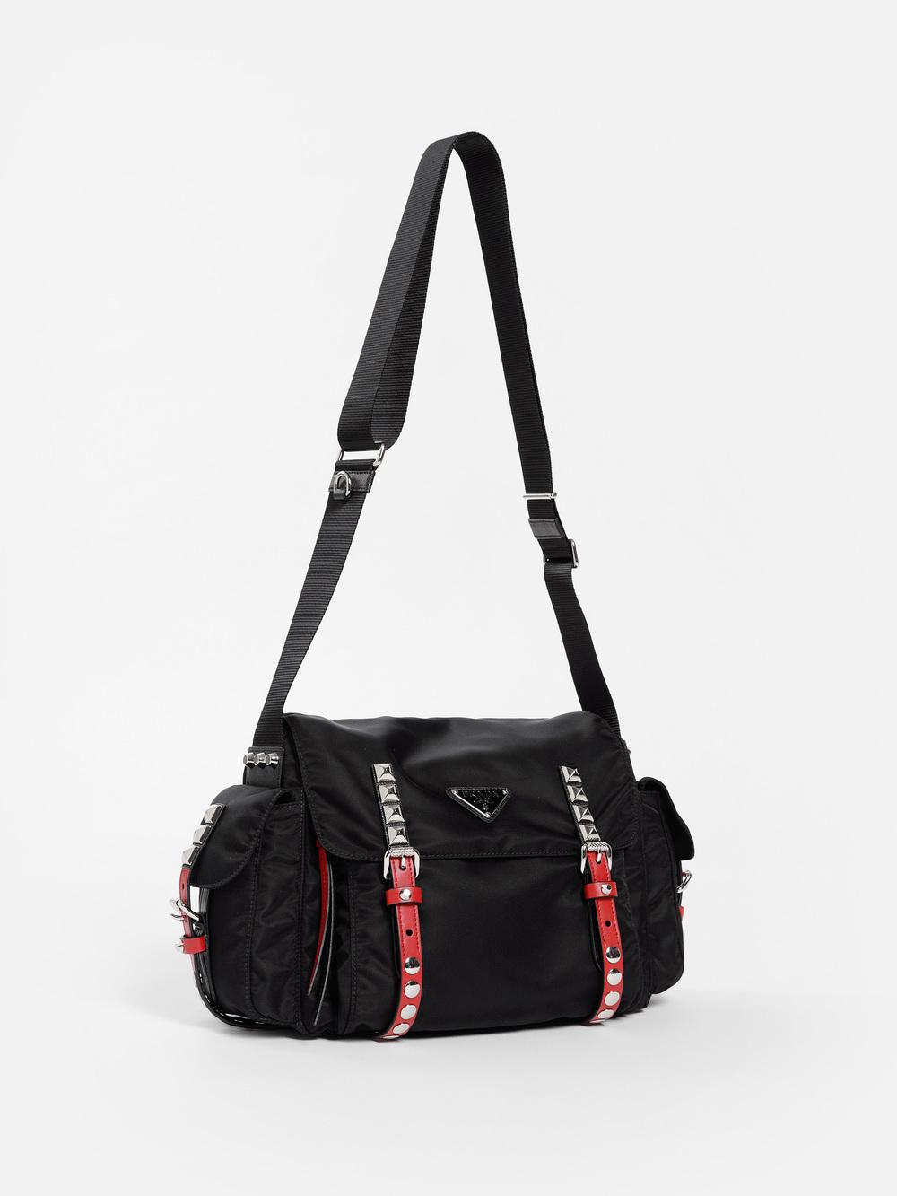 efce4fb846f5 Prada Women s Black Nylon Studded Messenger Bag