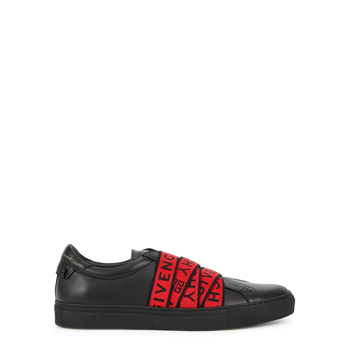 Givenchy Urban Street Logo-Jacquard Leather Slip-On Sneakers In 009 Red