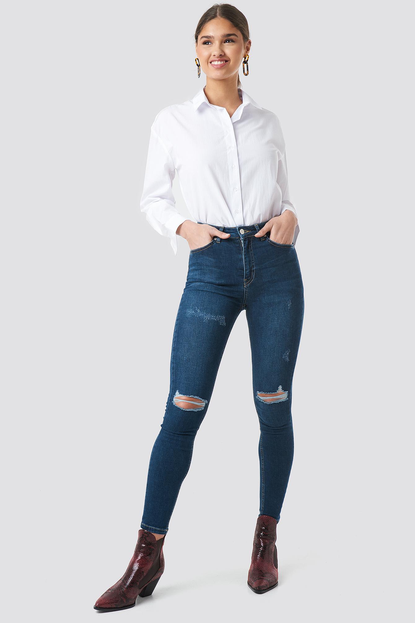 b1504c570e75 Na-Kd Skinny High Waist Destroyed Jeans - Blue