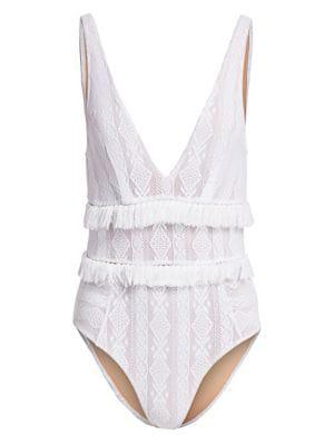39365891ff5 Jonathan Simkhai Lace Ruffle One-Piece Swimsuit In White | ModeSens