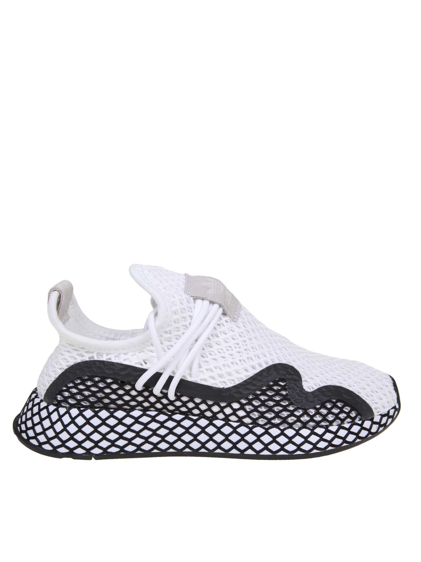 Adidas Originals Adidas Deerupt S In Strech White And Black Fabric ... cc8a15810
