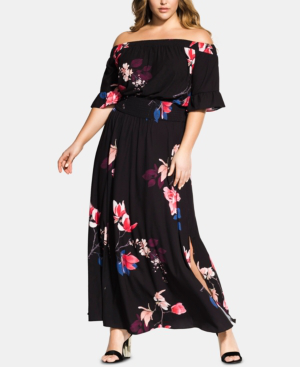City Chic Trendy Plus Size Printed Off-The-Shoulder Maxi Dress In ...