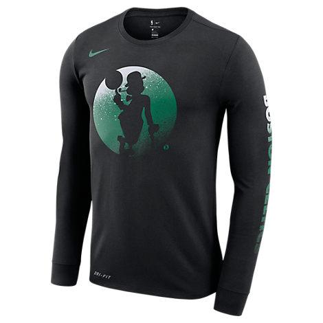 new style c8dde 0cac6 Nike Men s Boston Celtics Nba Mezzo Logo Performance Long-Sleeve T-Shirt,  Black