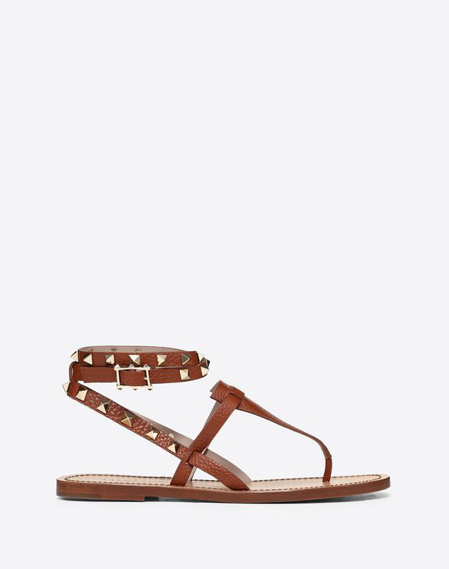 dc0094118a72 Valentino Grainy Leather Ankle Strap Sandal 5 Mm In Brown