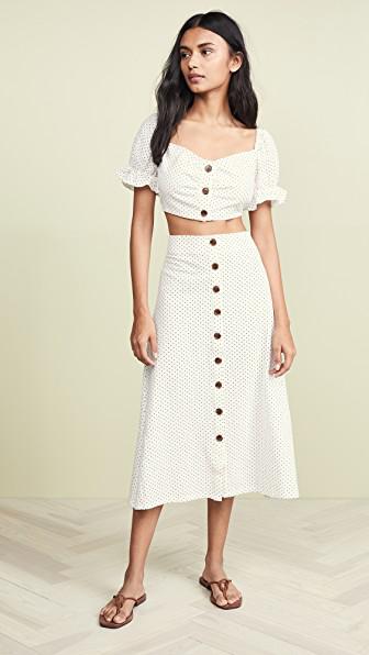 9e81836d1bc Chloe Set. Fabric  Textured weave Ruffle trim Cropped profile Puff sleeves  Polka-dot print Midi length Sweetheart neckline Short sleeves Button ...