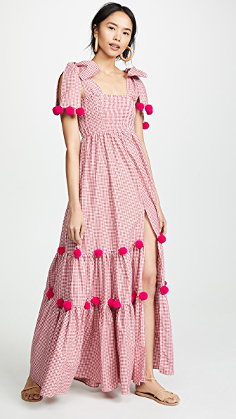 f08939bfad1 Sundress Pippa Long Dress In Gingham Red Pink
