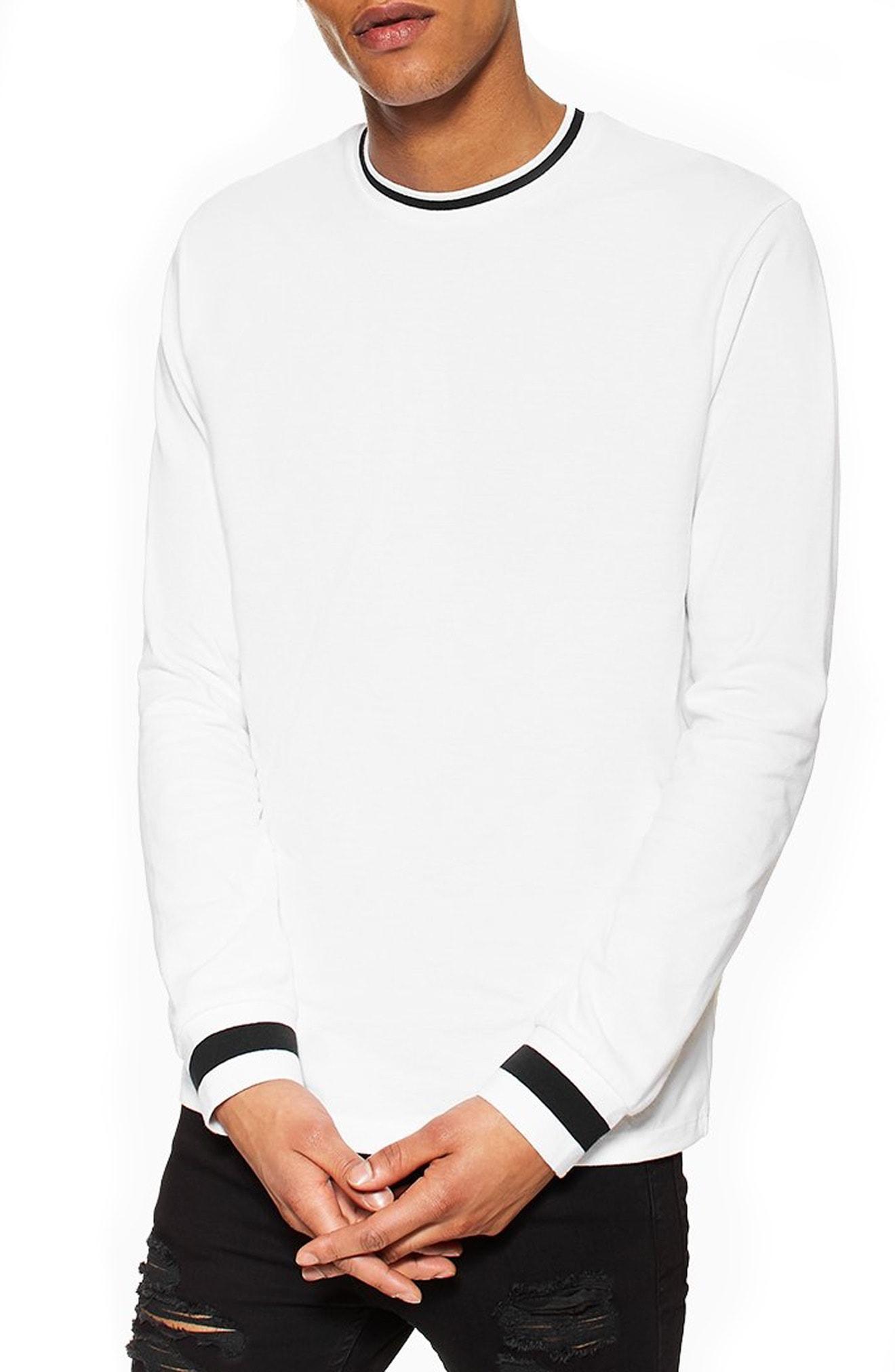 aa3c7f190a9 Topman Ringer Long Sleeve T-Shirt In White