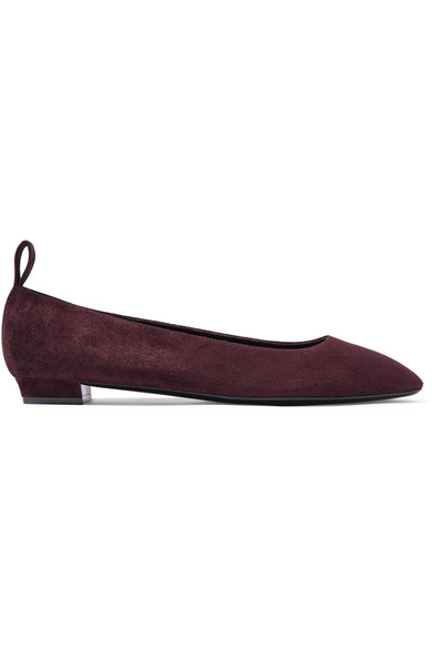 cf9a3ff48 The Row Lady D Suede Ballet Flats In Burgundy | ModeSens