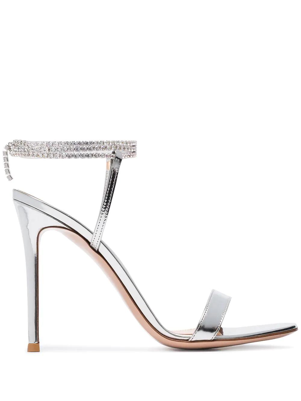 1933ae7b2d7 Gianvito Rossi Silver Tennis 105 Crystal Metallic Sandals