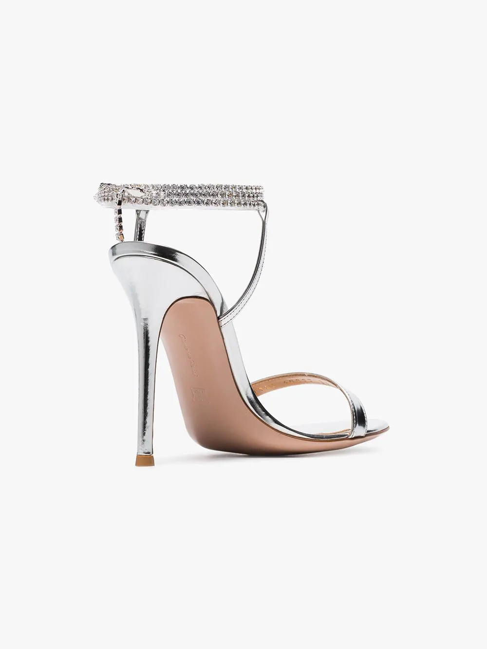 8eaef803f Gianvito Rossi Silver Tennis 105 Crystal Metallic Sandals