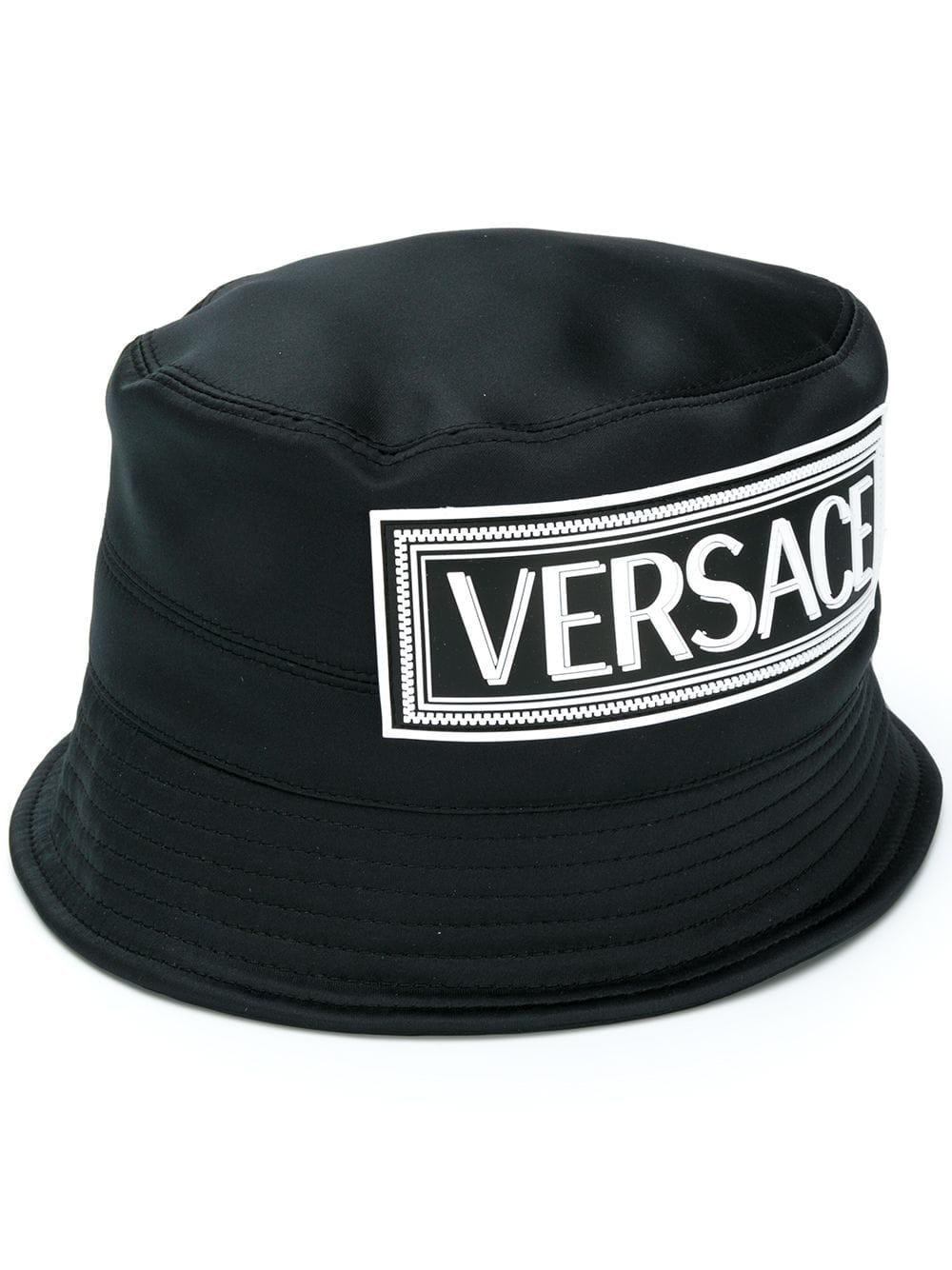 48eea99ad9334 Versace 90S Logo Bucket Hat - Black