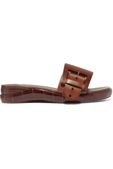 44fb3cc7d ChloÉ Buckle Crocodile-Embossed Leather Slides In Brown