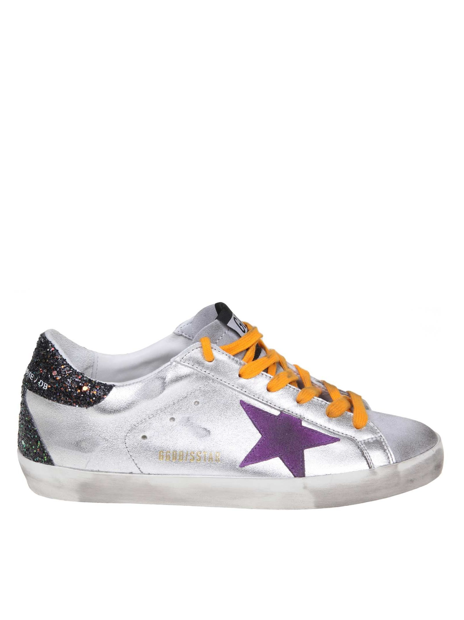 18f466fa899d Golden Goose Superstar Sneakers In Silver Leather