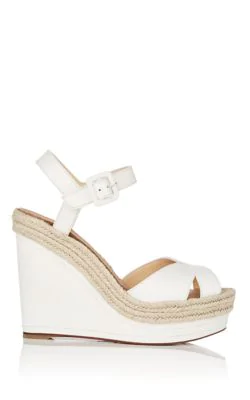 e0bd850097a Christian Louboutin Almeria 120 Leather Espadrille Wedge Sandals In White