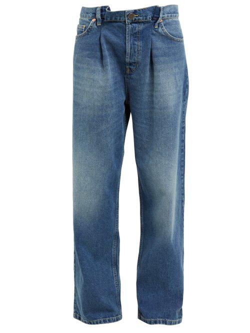 e4a4e371f3958b Raey - Fold Dad Baggy Boyfriend Jeans - Womens - Dark Blue | ModeSens