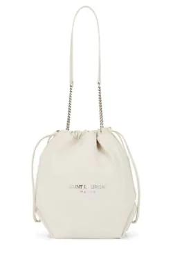 Saint Laurent Teddy Sac Leather Bucket Bag - White  5ff1be2de558c