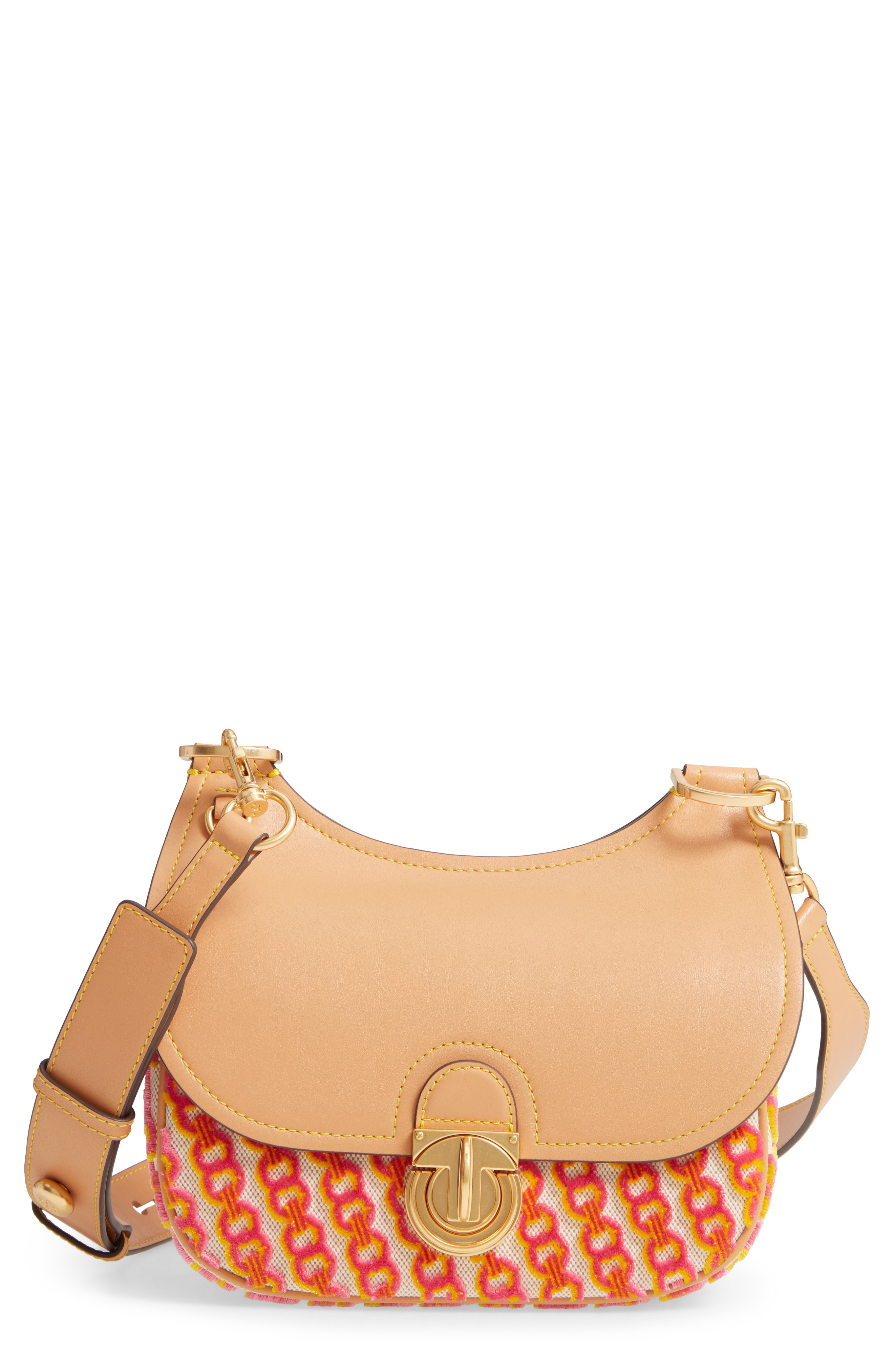 8ff75762d85 Tory Burch Small James Leather   Fil CoupÉ Saddle Bag In Pink Gemini Flocked