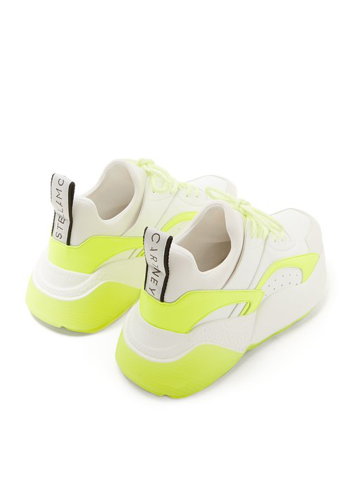 Stella Mccartney Eclypse Logo-Woven Neon Faux Leather, Suede And Neoprene Sneakers In White