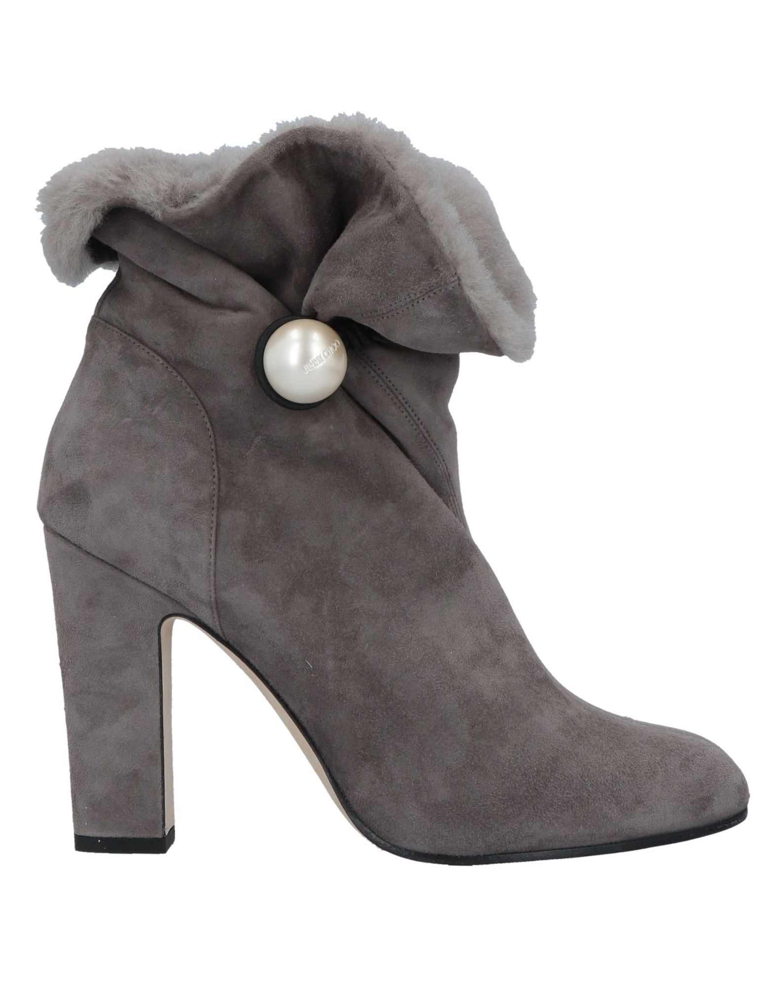 edfa97a6b086 Jimmy Choo Bethanie 85 Shearling-Lined Suede Ankle Boots In Dark Gray