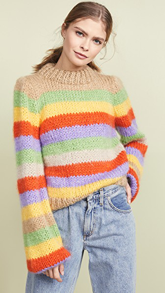 0665a7c6d454d Ganni Julliard Striped Mohair And Wool-Blend Sweater In Multicolor ...