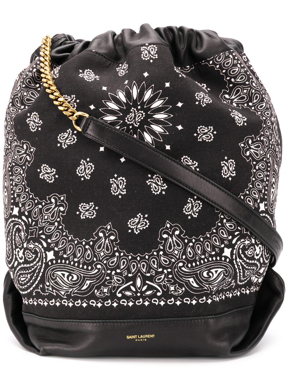 a363b23f80b Saint Laurent Teddy Bandana Bucket Bag - Black | ModeSens