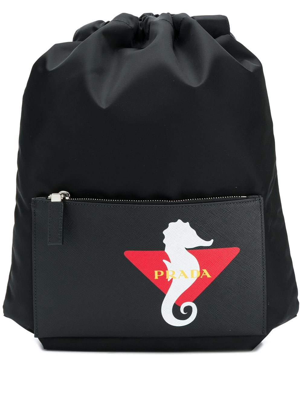 3d4c6157b492 Prada Logo Print Drawstring Backpack - Black | ModeSens