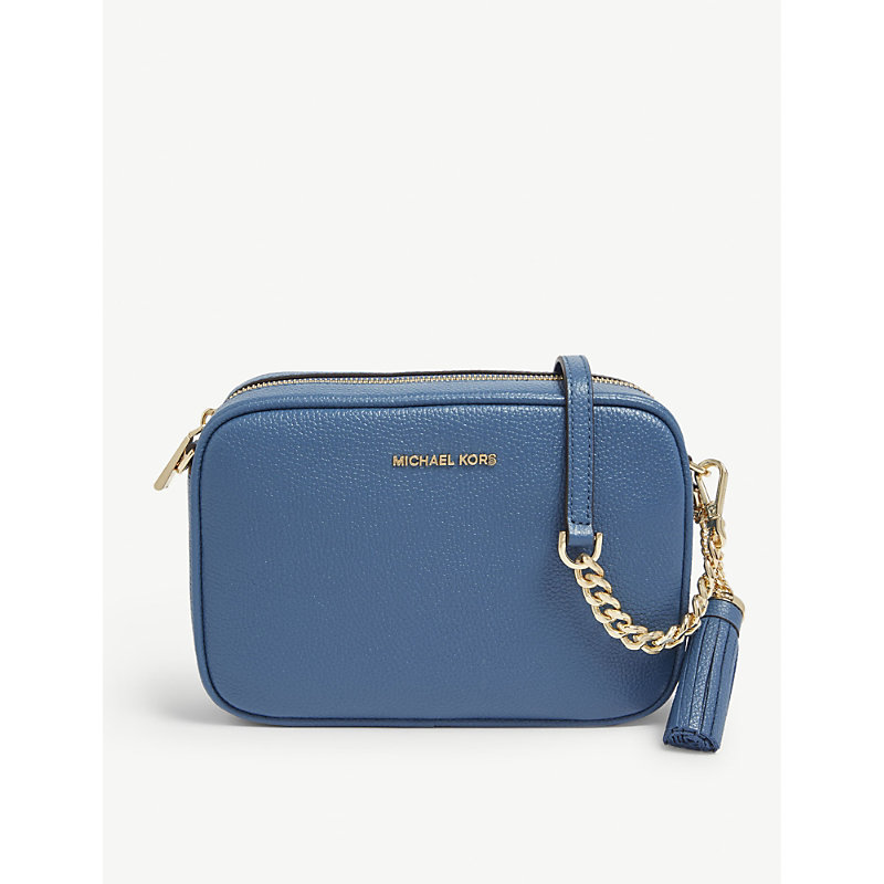 d42d72548496 Michael Michael Kors Ginny Leather Cross-Body Bag In Dk Chambray ...