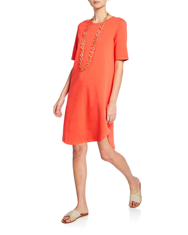 dec295899cb Eileen Fisher Petite Elbow-Sleeve Shirttail-Hem Jersey Dress In Red Lory