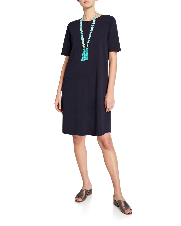 022cc831e11 Eileen Fisher Petite Elbow-Sleeve Shirttail-Hem Jersey Dress In Ink ...