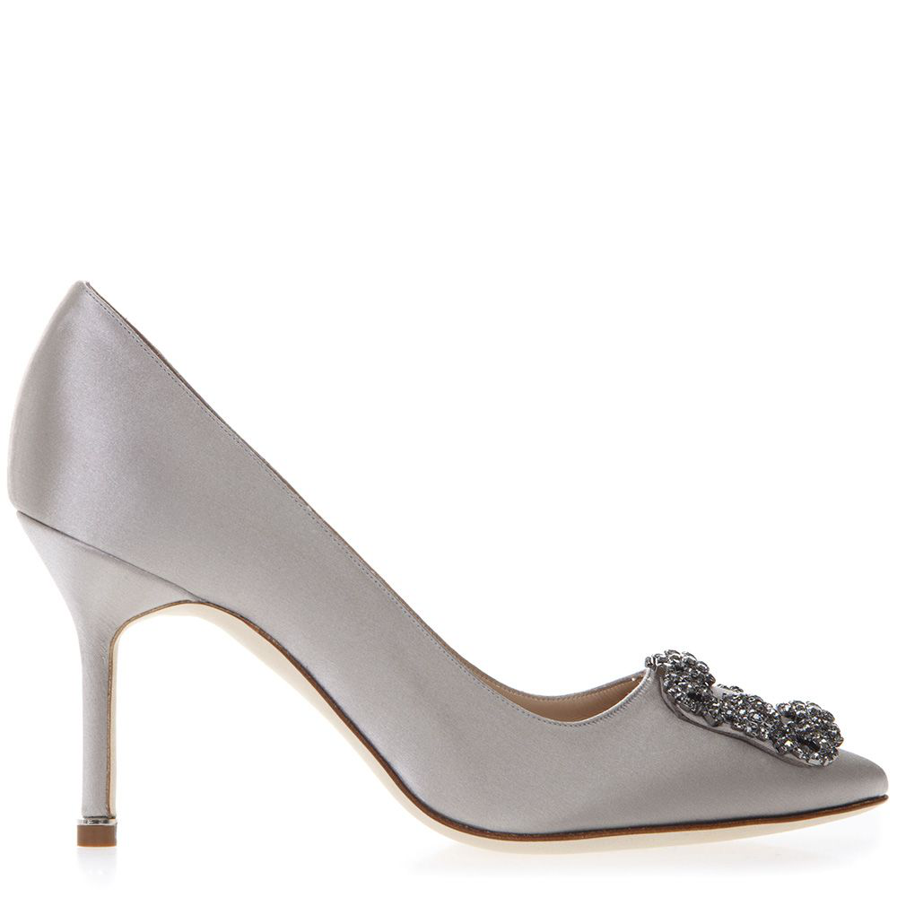c65b9a9c5721 Manolo Blahnik Hangisi Grey Satin Pumps