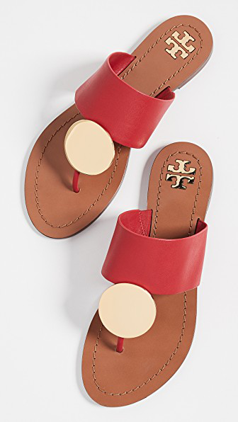 23f559fc5fc Tory Burch Patos Disk Sandals In Brilliant Red Gold