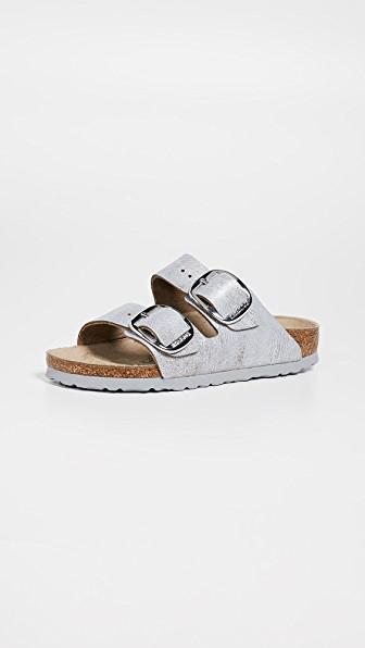 f2464aa6383a Birkenstock Arizona Big Buckle Sandals In Washed Metallic Blue ...