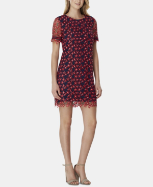 Chemical Lace Sheath Dress In Navyred