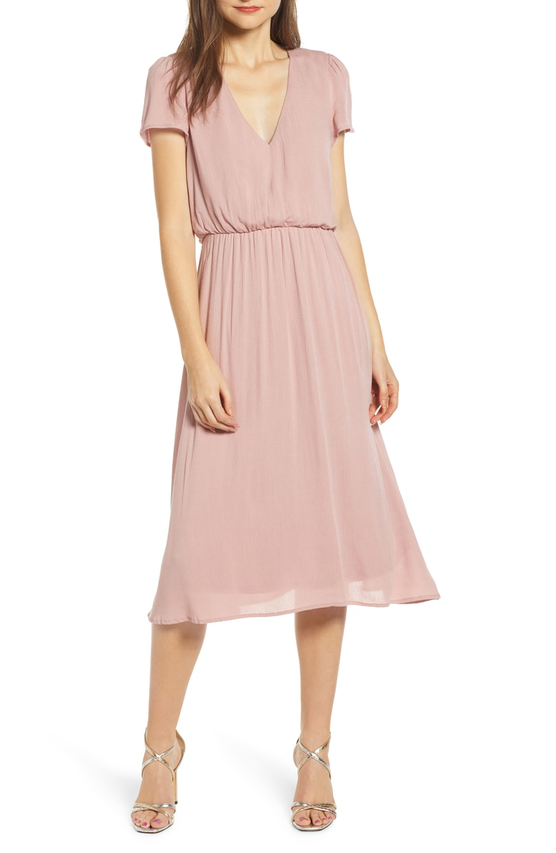 35919bb4bc3c Wayf Blouson Midi Dress In Blush
