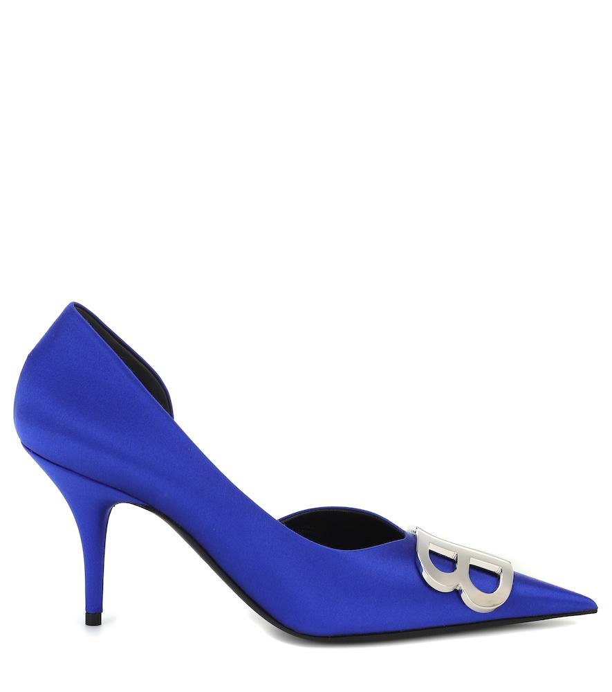 739af687870 Balenciaga Bb Satin Point Toe D Orsay Pumps In Blue