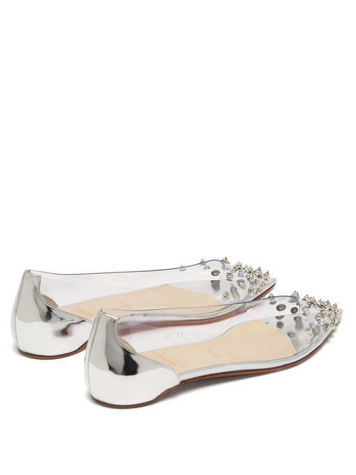7c383b63bd7 Collaclou Spiked Pvc And Mirrored-Leather Point-Toe Flats in Silver