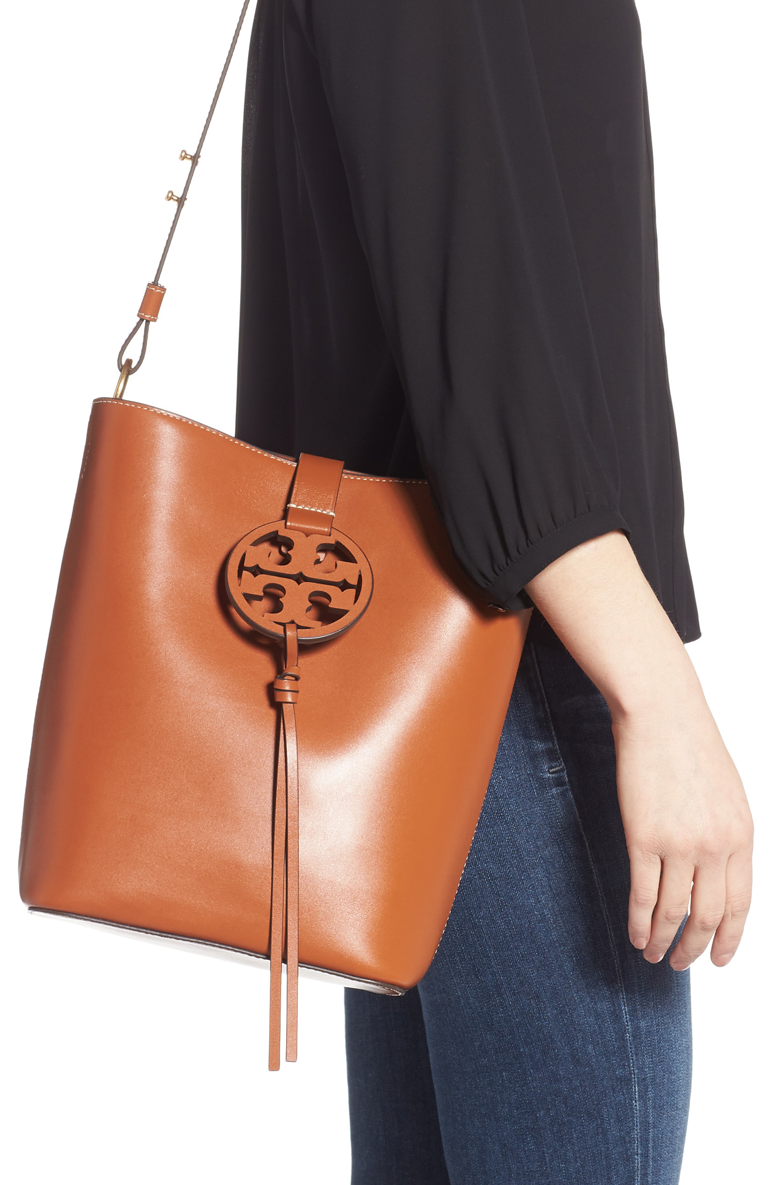 3412f8533f62 Tory Burch Miller Leather Hobo In Aged Camello