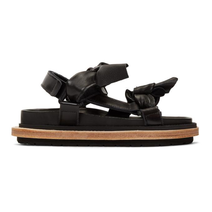 0881ac4aa8a1 Sacai Black Bow Tie Sandals In 001 Black