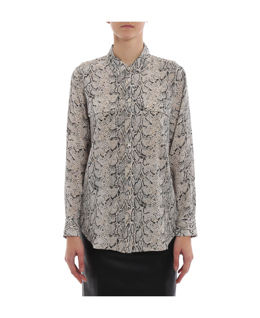 11de0851f5e14 Equipment Slim Signature Python-Print Silk Button-Front Blouse In Animal  Print